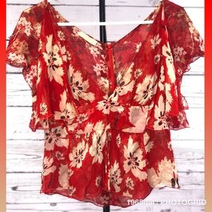 Valentino Red Beige Flowers Flouncy Blouse Vintage